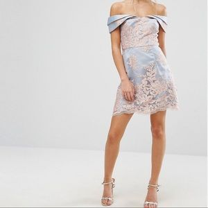 ASOS Dresses - Chi Chi London Lace Bardot Cocktail Prom Dress